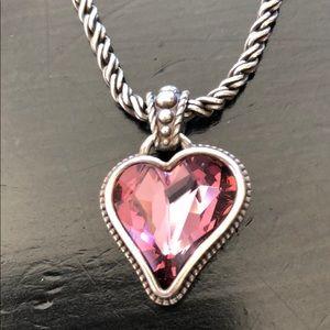 bibi Silver pink heart gem by Brighton NWT
